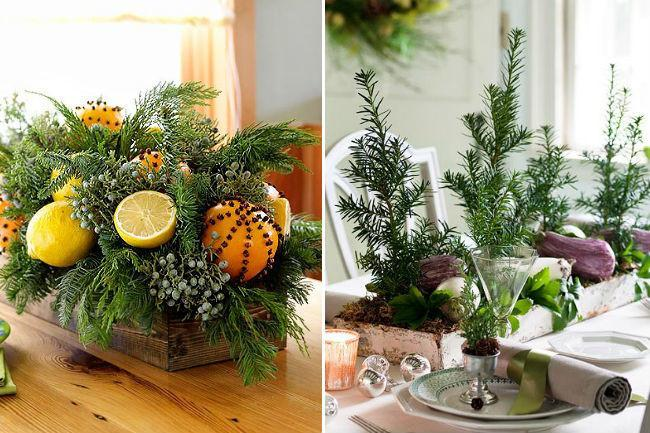 decoraciones navide as con plantas y otros elementos